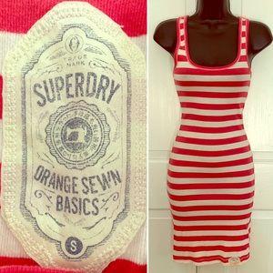 Striped midi tank ribbed dress